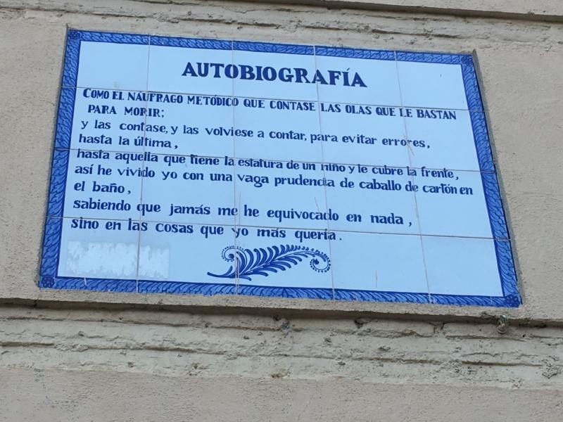 """Placa Cerámica Poema """"Autobiografía"""", Luis Rosales."""