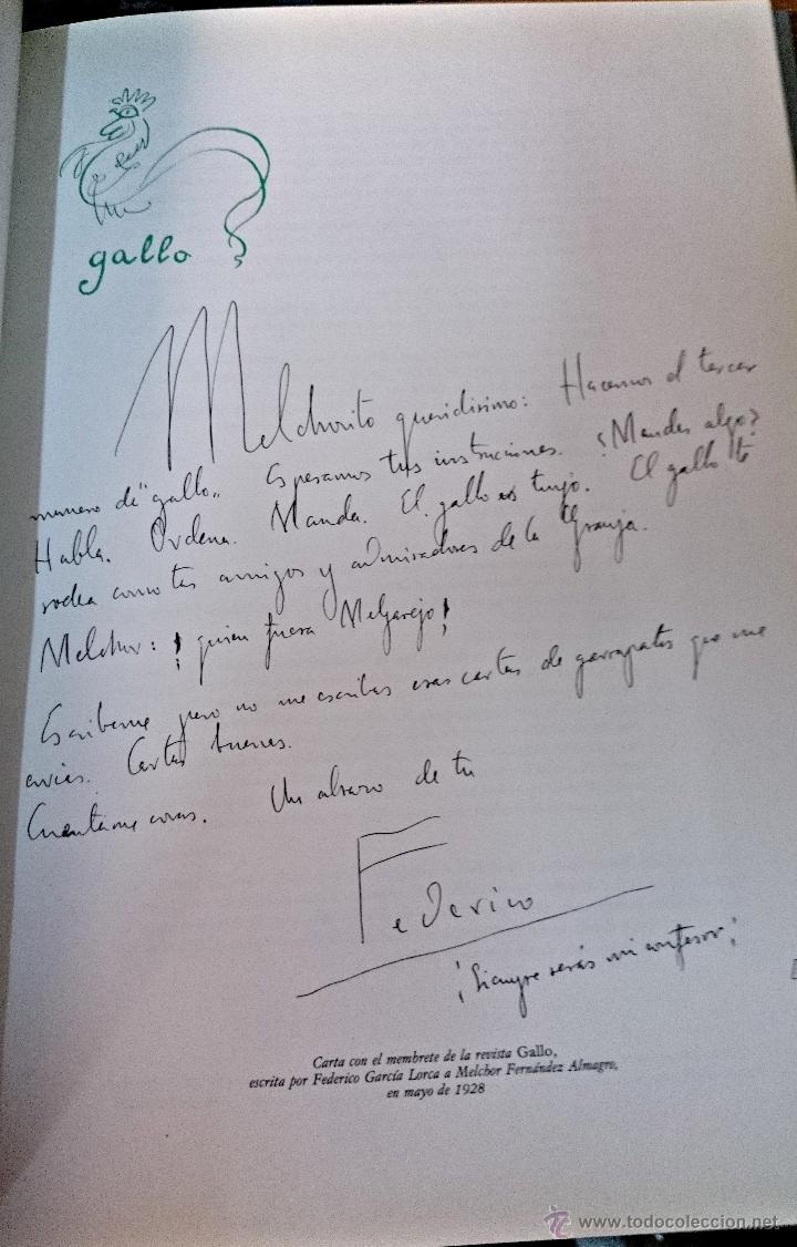 Carta de Lorca a Melchor Fernández Almagro con membrete de la Revista Gallo