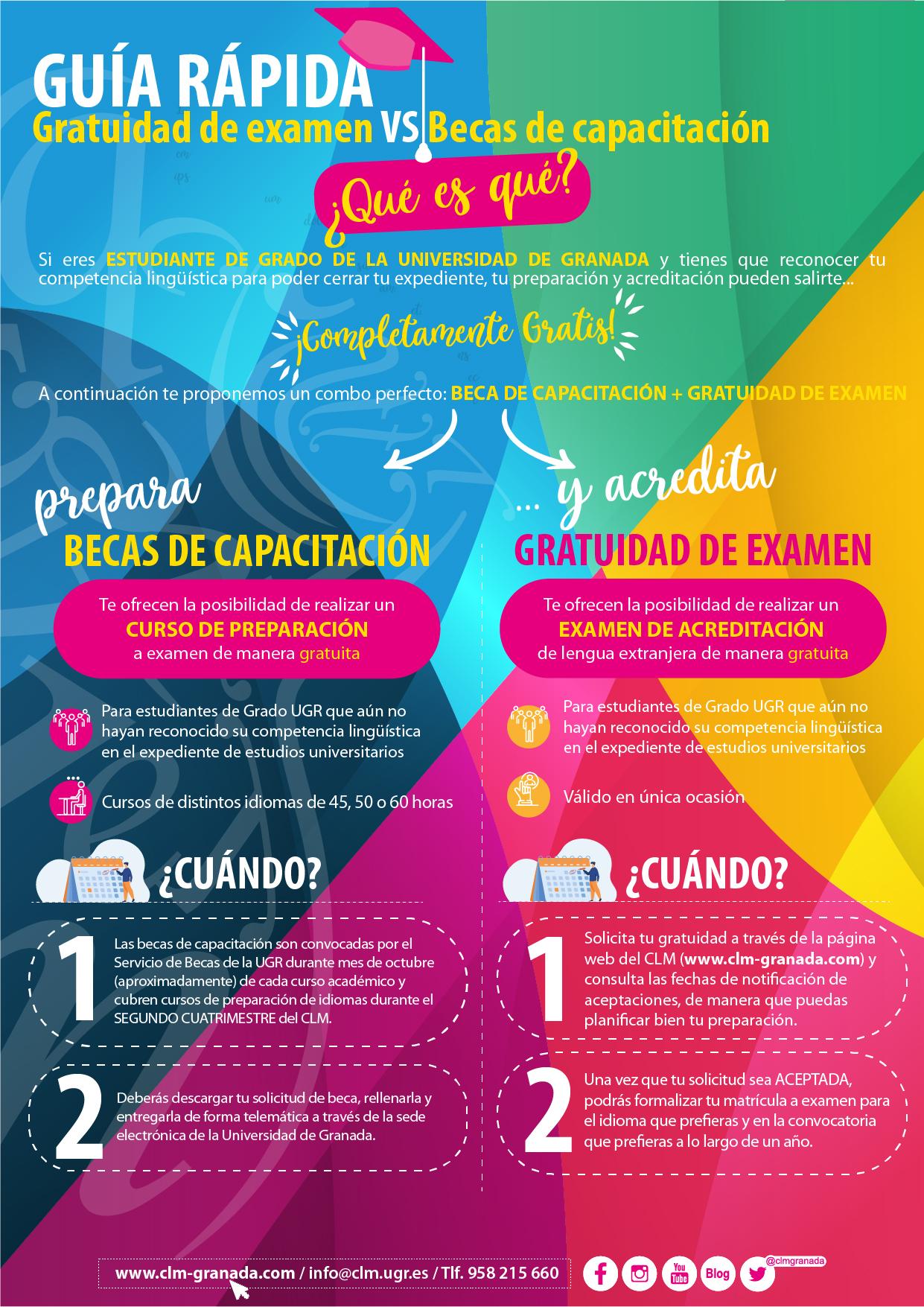 Infografía sobre becas de capacitación lingüística y gratuidad de examen